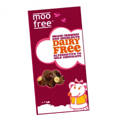 Cranberry & Hazelnuts - Organic Dairy Free Milk Chocolate Alternative MOO FREE 100g